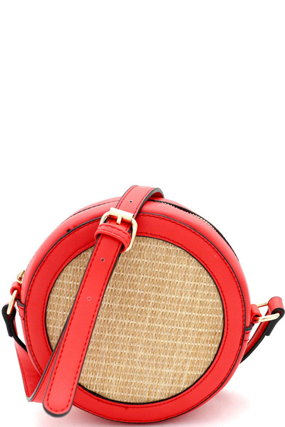 Woven Straw Round Circle Cross Body Shoulder Bag