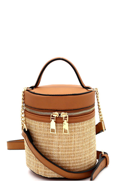 Woven Straw Barrel-Shaped Medium 2Way Shoulder Bag