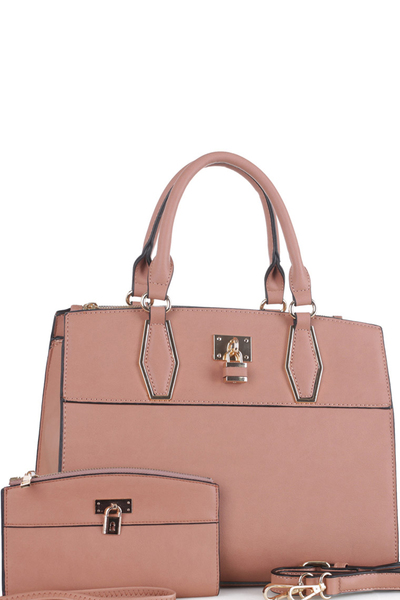 Fashion Faux Leather Satchel with Wallet