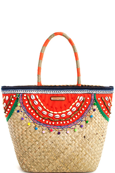 Nicole Lee Trendy Bohemian Straw Woven Tote Bag