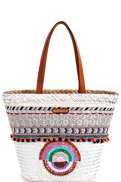 Nicole Lee Chic Bohemian Straw Woven Tote Bag