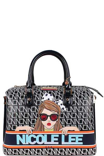 Nicole Lee See My Sweetheart Print Satchel Bag