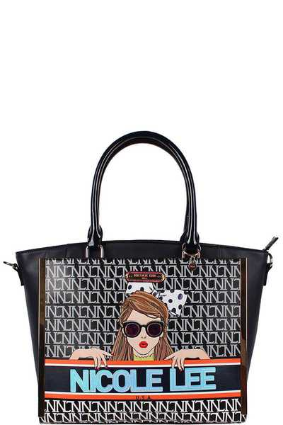 Nicole Lee See My Sweetheart Print Modern Satchel Bag
