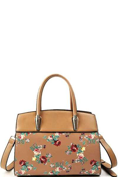 FASHION CHIC FLOWER SATCHEL WITH LONG STRAP