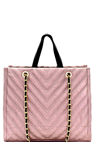 Chevron Quilted 2-Way Chain Tote