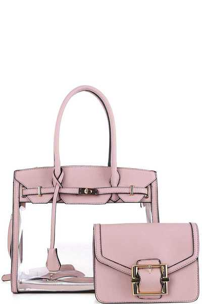 2IN1 DESIGNER TRANSPARENT SATCHEL WITH LONG STRAP