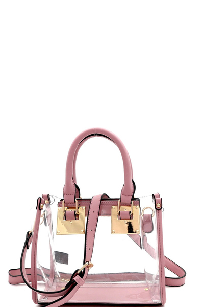 Hardware Accent Transparent Clear Structured Medium Satchel
