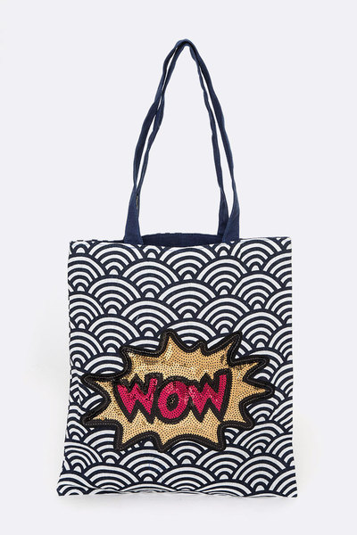 WOW Sequins Glitter Cotton Tote