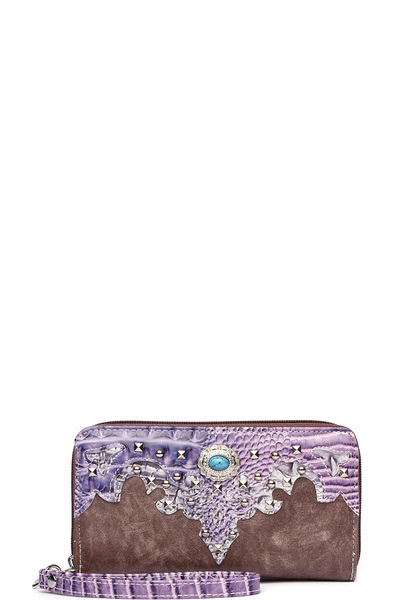 Western Flower Concho Zip Around Wallet Wristlet