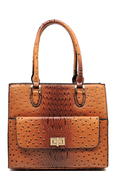 Ostrich Front Turn Lock Pocket Boxy Satchel