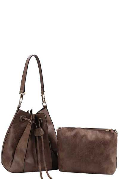 2IN1 FASHION MODERN CHIC SATCHEL WITH LONG STRAP