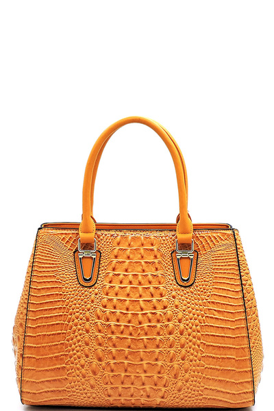 Glossy Crocodile Top Handle Satchel