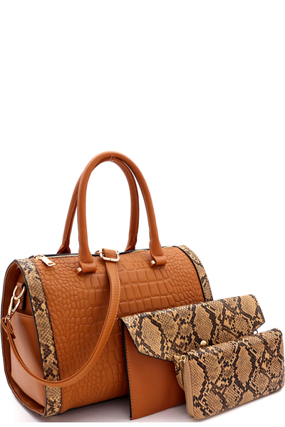 Crocodile Snake Print Boston Satchel Clutch Wallet