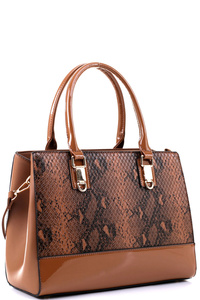 Snake Print Patent Trim 2-Way Structured Satchel