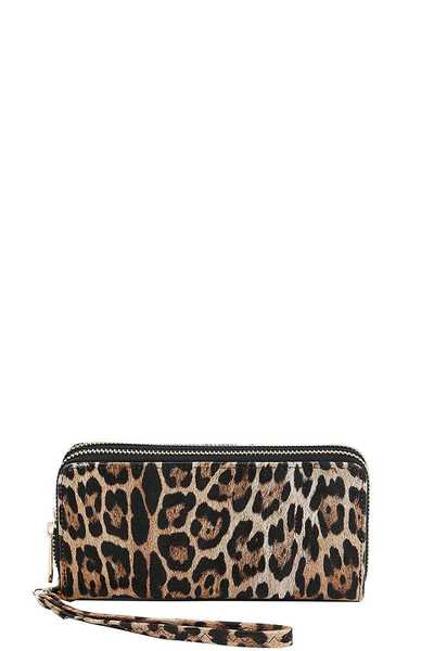 LEOPARD PRINT DOUBLE SIDED LONG WALLET HAND STRAP
