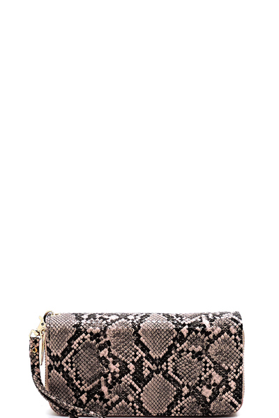 Python Snake Skin Double Zip Around Wallet Wristlet