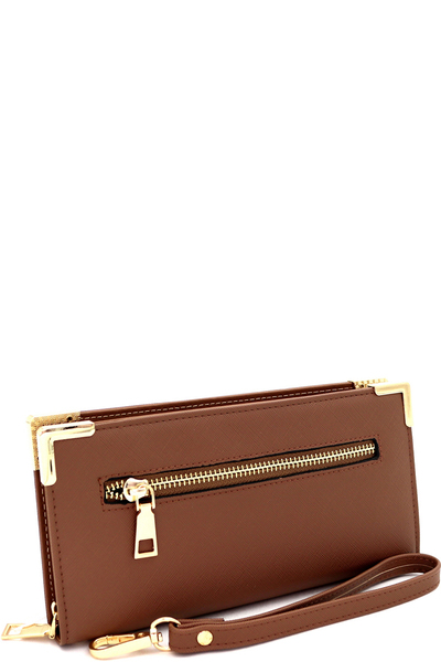 Hardware Saffiano Zip-around Wristlet Wallet