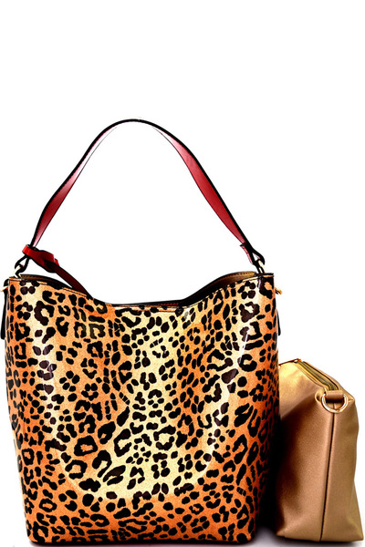 Side Ring Hook 2-Face Leopard Print Patent 3 in 1 Hobo