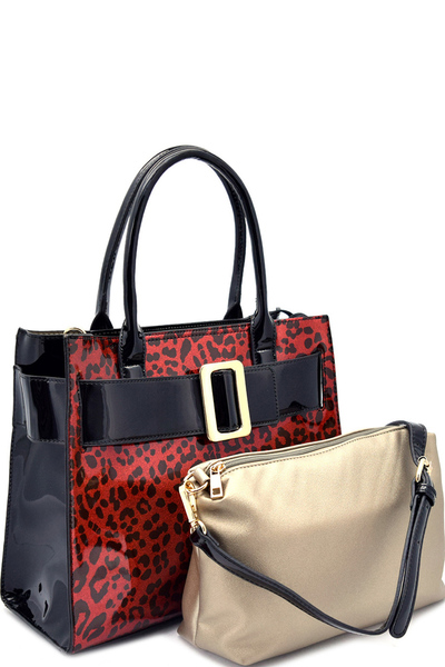 Animal Skin Printed Buckle Accent Glossy Satchel