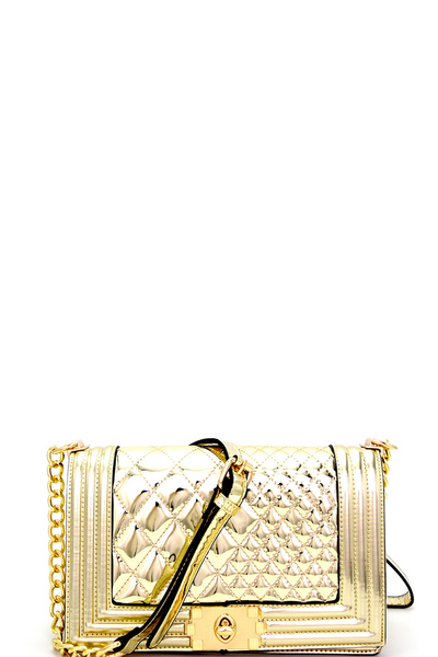 Quilted Metallic Turn-lock Flap Chain Shoulder Bag