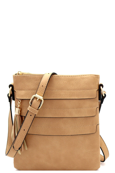Tassel Accent Multi-Pocket Cross Body Messenger