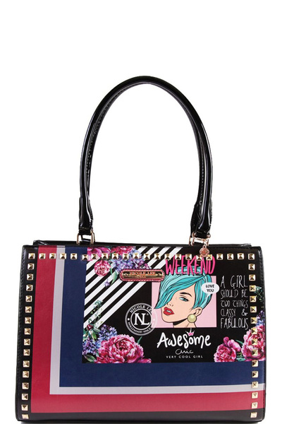NICOLE LEE POP ART STUDDED HANDBAG