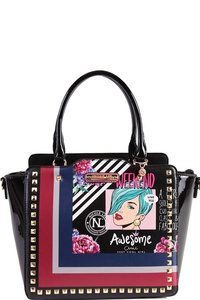 NICOLE LEE POP ART STUDDED SATCHEL BAG