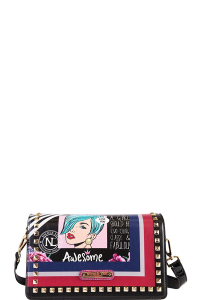 NICOLE LEE POP ART STUDDED FLAP CROSSBODY
