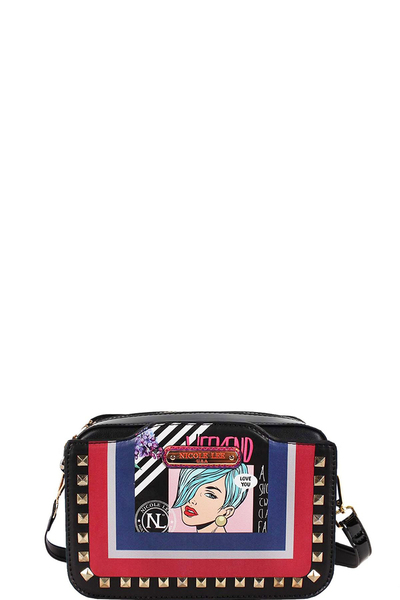 NICOLE LEE POP ART STUDDED CROSSBODY