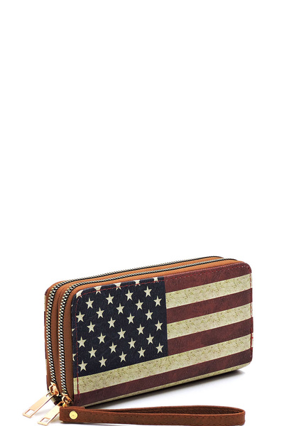 US Flag Double Zip Around Wallet Wristlet