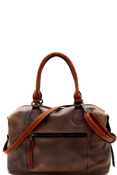 Brushed Texture 2 Way Boston Satchel