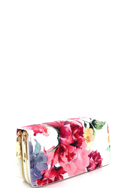 Flower Print Double Zip-Around Wallet