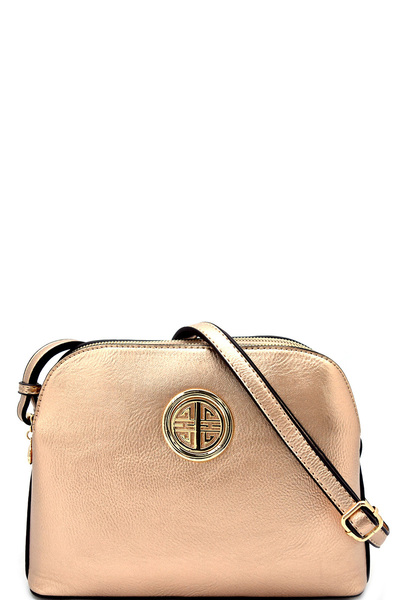 Hardware Logo Accent Dual Compartment Cross Body Bag