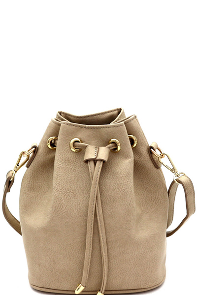 Drawstring Medium 2Way Bucket Satchel Shoulder Bag