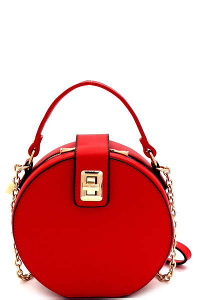 Turn-Lock Accent Round Cross Body Shoulder Bag