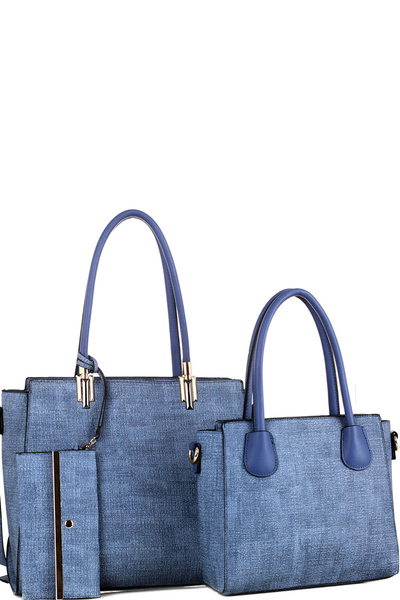 Hardware Accent Textured 3 in 1 Twin Tote Value SET