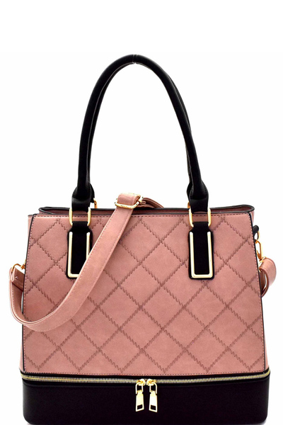 Zipper Accent Quilted Two-tone Tote