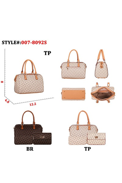 DISCOUNTED VOLUME SALE Monogram Print Classy Satchel, Clutch and Wallet SET