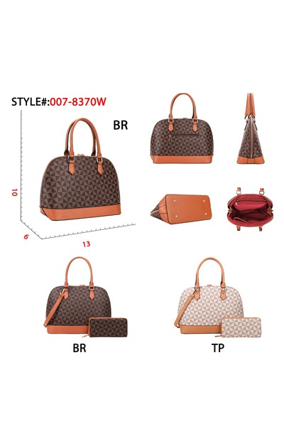 DISCOUNTED VOLUME SALE Monogram Print Classy Dome Satchel  Wallet SET
