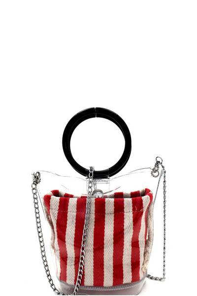 Round Handle 2 in 1 Clear Satchel With Pinstriped Inner Bag