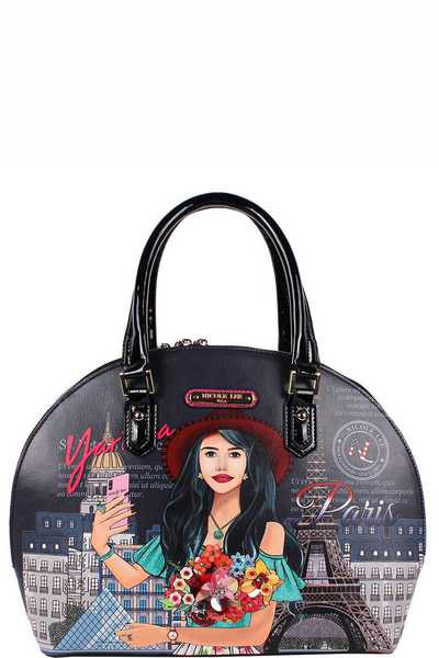 Nicole Lee Yarissa Loves Selfie Print Domed Satchel Bag