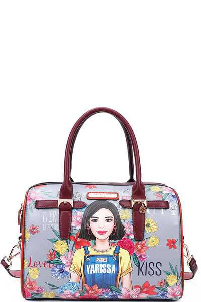 Nicole Lee YARISSA PRINT BOSTON BAG WITH STRAP