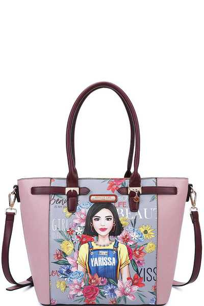Nicole Lee YARISSA PRINT CUTE TOTE WITH LONG STRAP