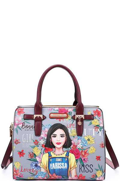 Nicole Lee YARISSA PRINT SATCHEL WITH LONG STRAP