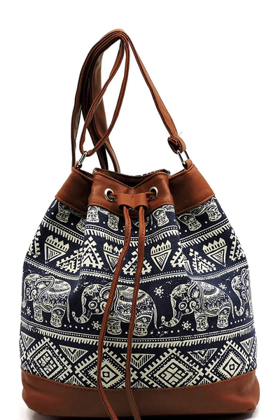 Aztec Printed Canvas Bucket Drawstring Shoulder Bag