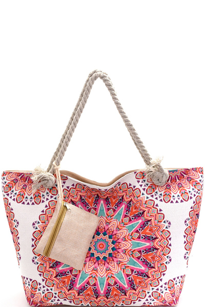 Tribal Print Canvas Rope Handle Shopper Tote with Pouch