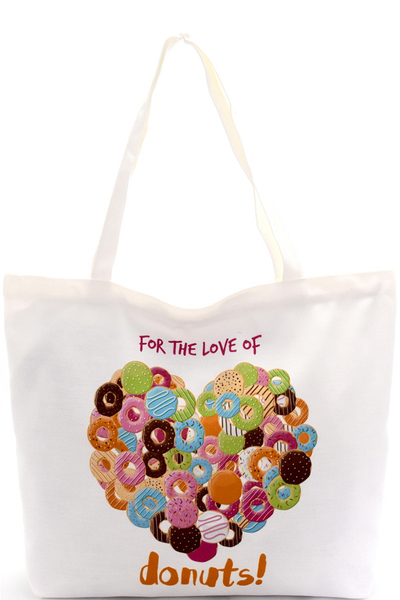 For The Love of Donuts Canvas Shopper Tote