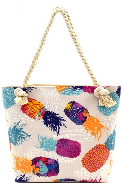 Pineapple Print Canvas Rope Handle Shopper Tote