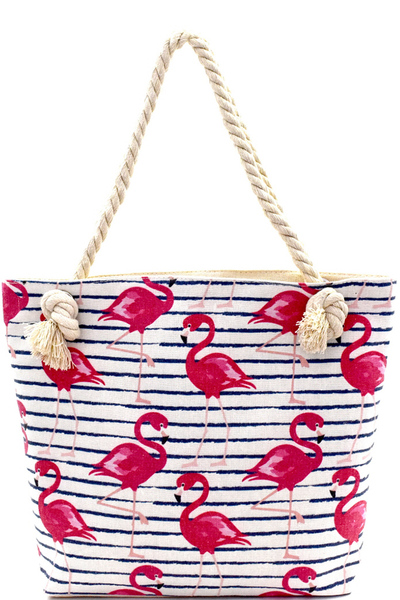 Flamingo Print Canvas Rope Handle Shopper Tote
