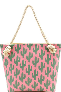 Cactus Print Canvas Rope Handle Shopper Tote